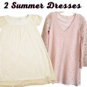 2 Floral Lace Crotchet Shift Casual Midi Dress Med